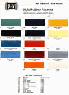 chevy truck paint chips colors sample