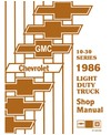 1986 CHEVROLET & GMC C/K 10-35 LIGHT DUTY, G & P SERIES Body, Chassis & Electrical Service Manual