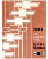 1986 CHEVROLET S-10 BLAZER & PICKUP Body, Chassis & Electrical Service Manual