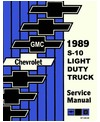 1989 CHEVROLET & GMC S-10, S-15 BLAZER & PICKUP Body, Chassis & Electrical Service Manual
