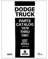 1978-81 DODGE LIGHT DUTY, PICKUP, L'IL RED EXPRESS, VAN, WARLOCK Body & Chassis, Text & Illustration Parts Book